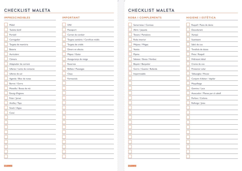 Checklist maleta